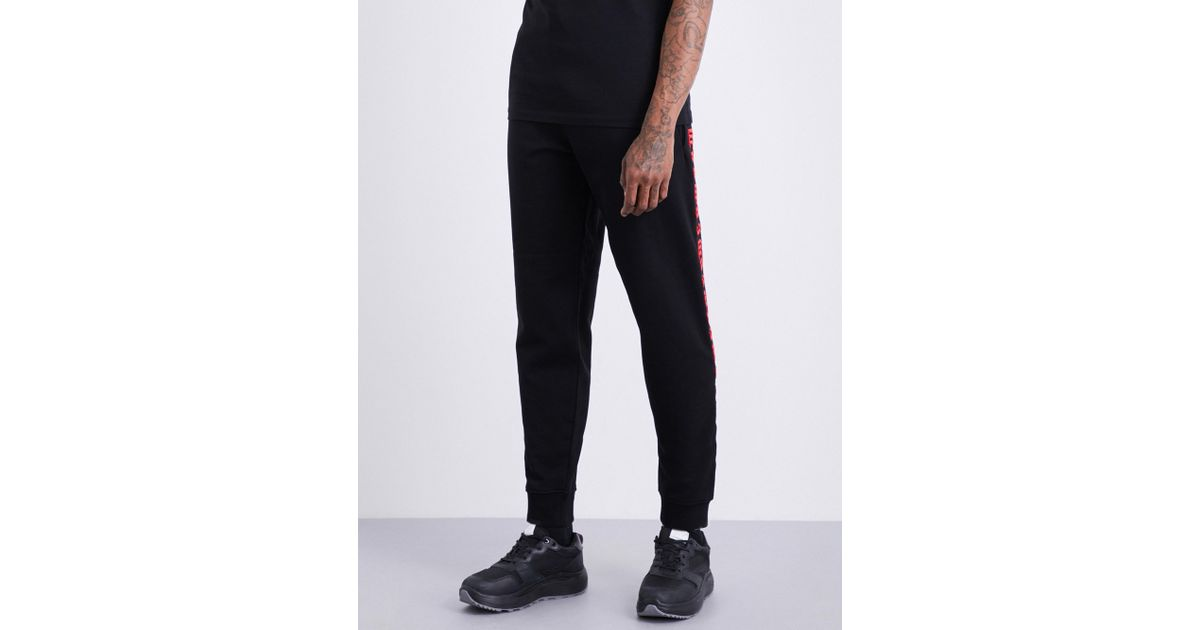 Lyst - Mcq alexander mcqueen Gothic-text Cotton-jersey Jogging Bottoms in  Black for Men