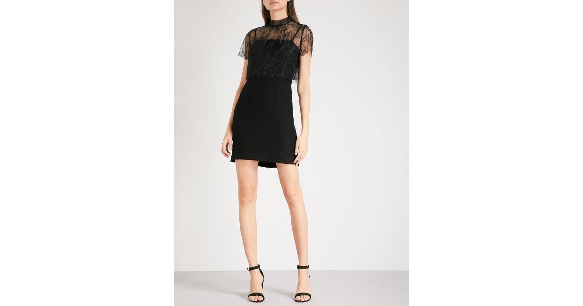f871300895545 Sandro Lace-overlay Mini Dress in Black - Lyst