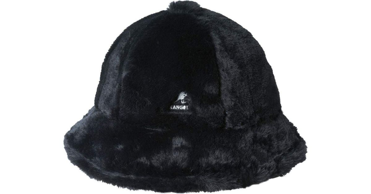 Lyst - Kangol Faux Fur Casual Bucket Hat in Black 440718113b2