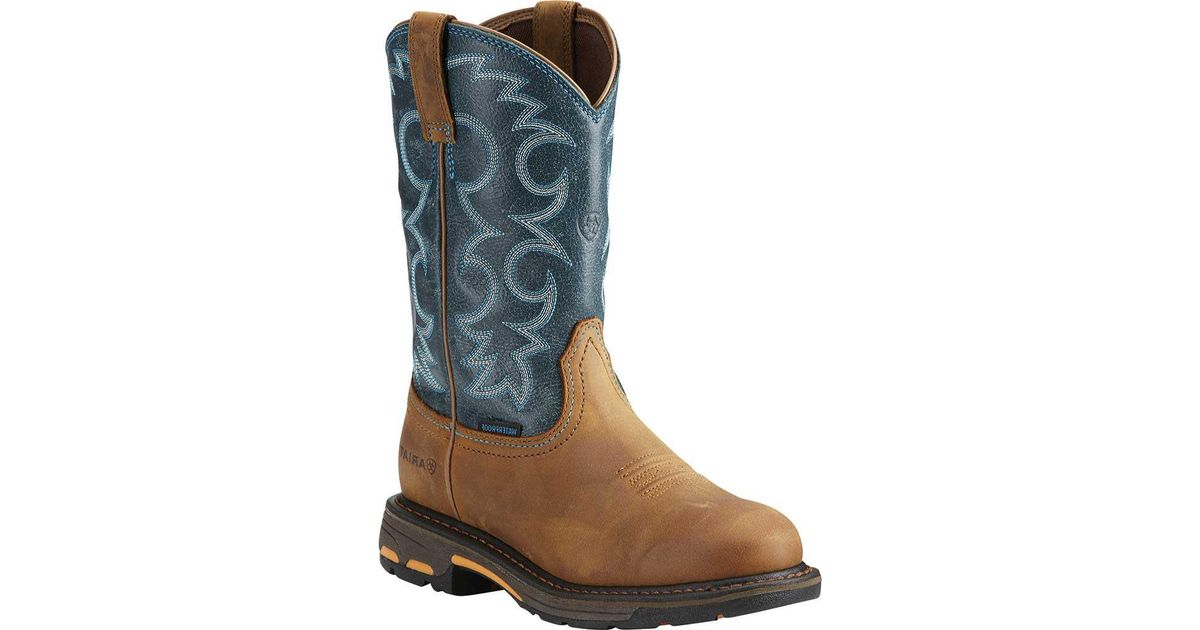 80833dcd1e7 Ariat - Blue Workhog Pull-on H2o Cowgirl Boot - Lyst