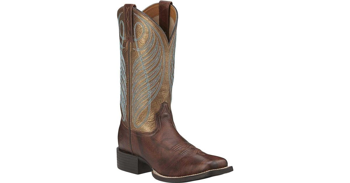 2a1faea2e20 Ariat - Brown Round Up Wide Square Toe Boot - Lyst