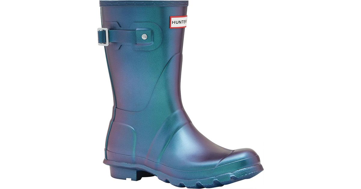 f1bd8aa69cd Lyst - HUNTER Original Short Nebula Rain Boot in Blue