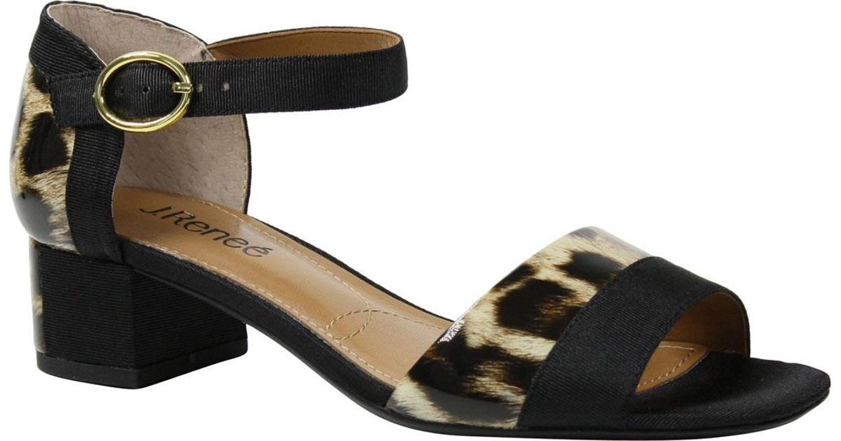 4d89459d20bdd8 Lyst - J. Reneé Pebblebeach Leopard Print Sandals in Black