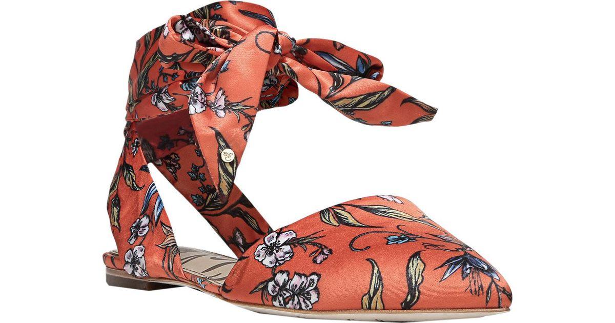 a43863ca87f6 Lyst - Sam Edelman Brandie Ankle Tie Flat in Red