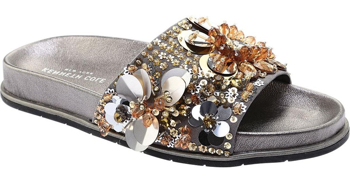 9dfa448b4fde Lyst - Kenneth Cole Women s Xenia Sequin-embellished Pool Slide Sandals in  Metallic - Save 30%
