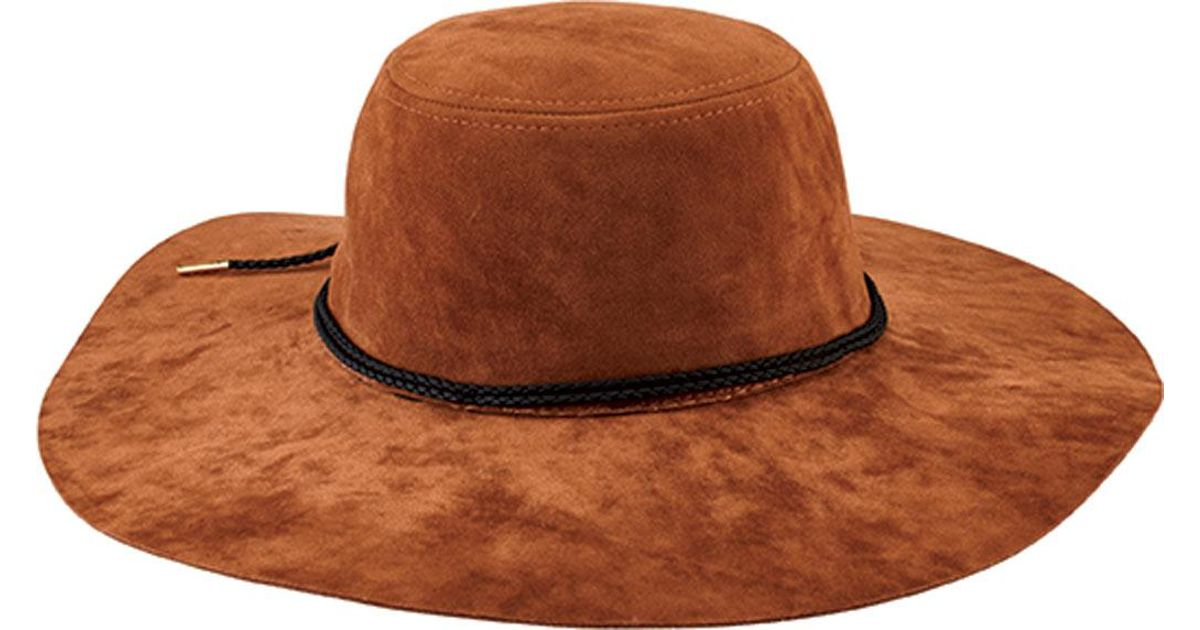 Lyst - San Diego Hat Company Faux Suede Floppy Hat With Braided Trim  Cth8093 in Brown a41fd06aadf