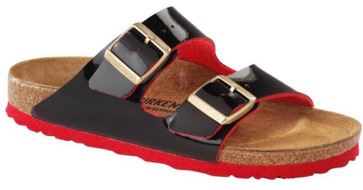 5708abdafedd78 Lyst - Birkenstock Black   Red Arizona Patent Sandal in Red