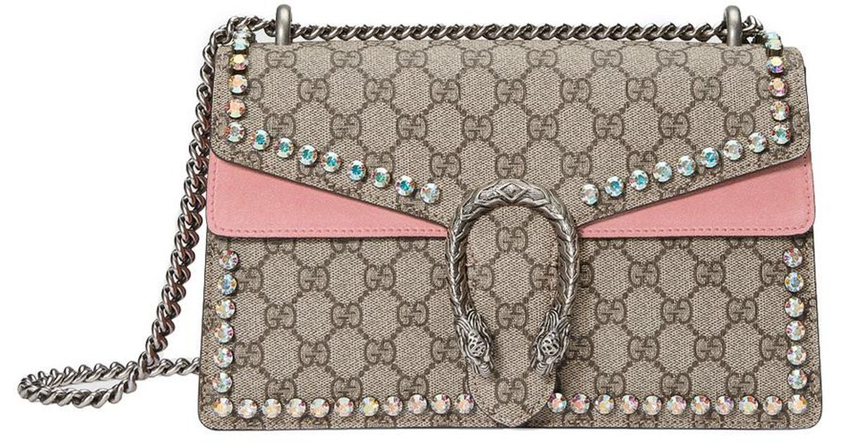Lyst - Gucci Pink Dionysus Gg Supreme Shoulder Bag With Crystals in Pink 24dbb4ba2e010