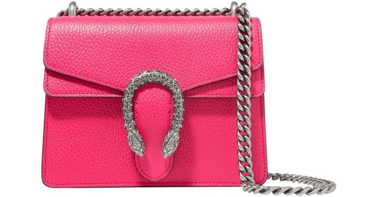 25e4d02b3258 Gucci Dionysus Leather Crystal Mini Bag in Pink - Lyst