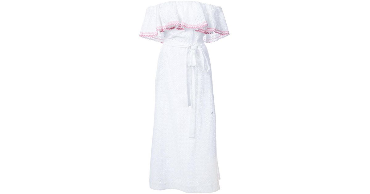 c5f69f62b3 Lyst - Lisa Marie Fernandez White Ric Rac Mira Flounce Eyelet Dress in White