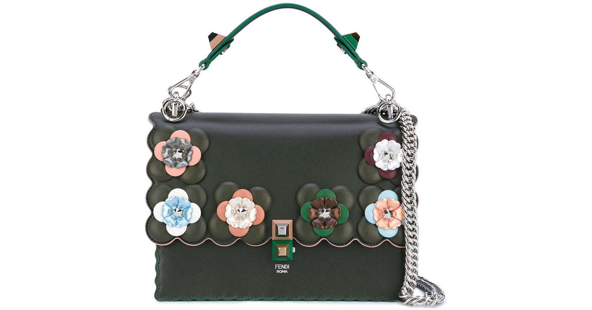 Lyst - Fendi Dark Green Embellished Kan I Shoulder Bag in Green 2a7d3bf40edb6