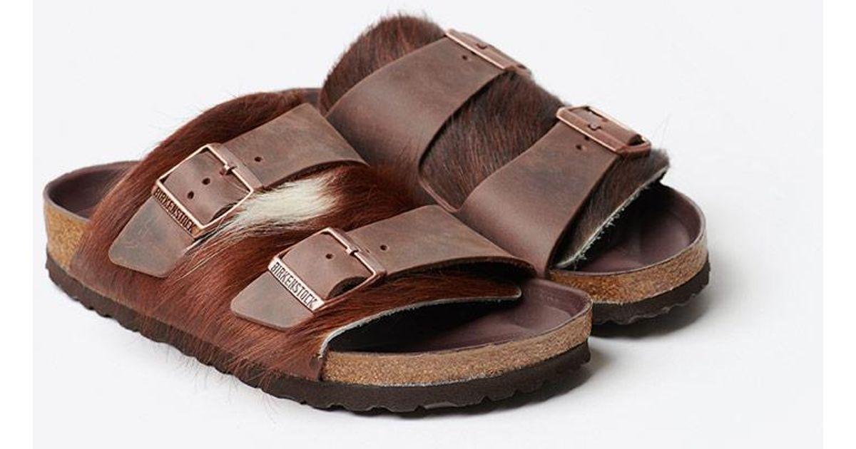 cd3d5ba9bcf9 Lyst - Birkenstock Arizona Lux Fur Sandal in Brown