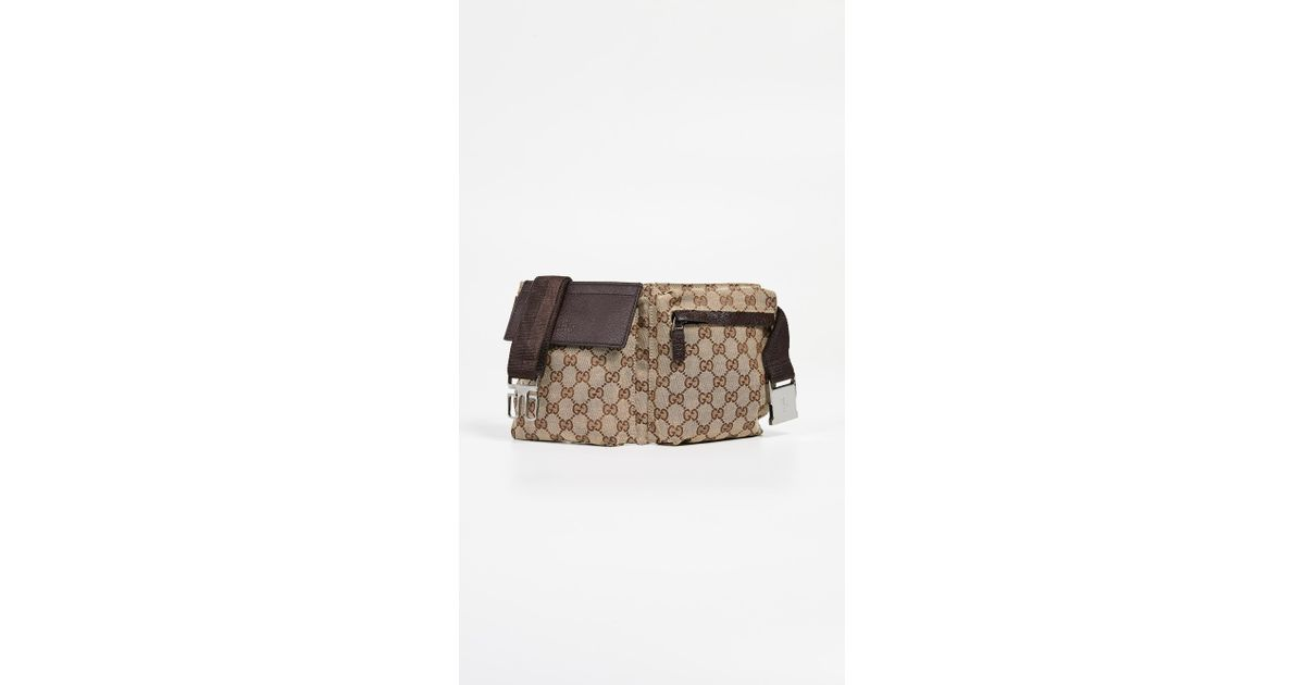 ad2a54e03689 What Goes Around Comes Around Gucci Brown Coated Canvas Waist Pouch in  Brown - Lyst