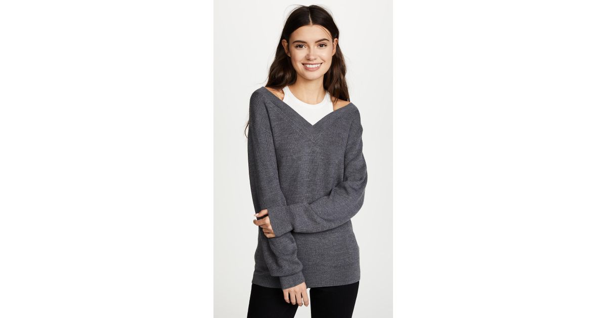 f2b65d33f593 Lyst - T By Alexander Wang Off The Shoulder Sweater With Inner Tank ...