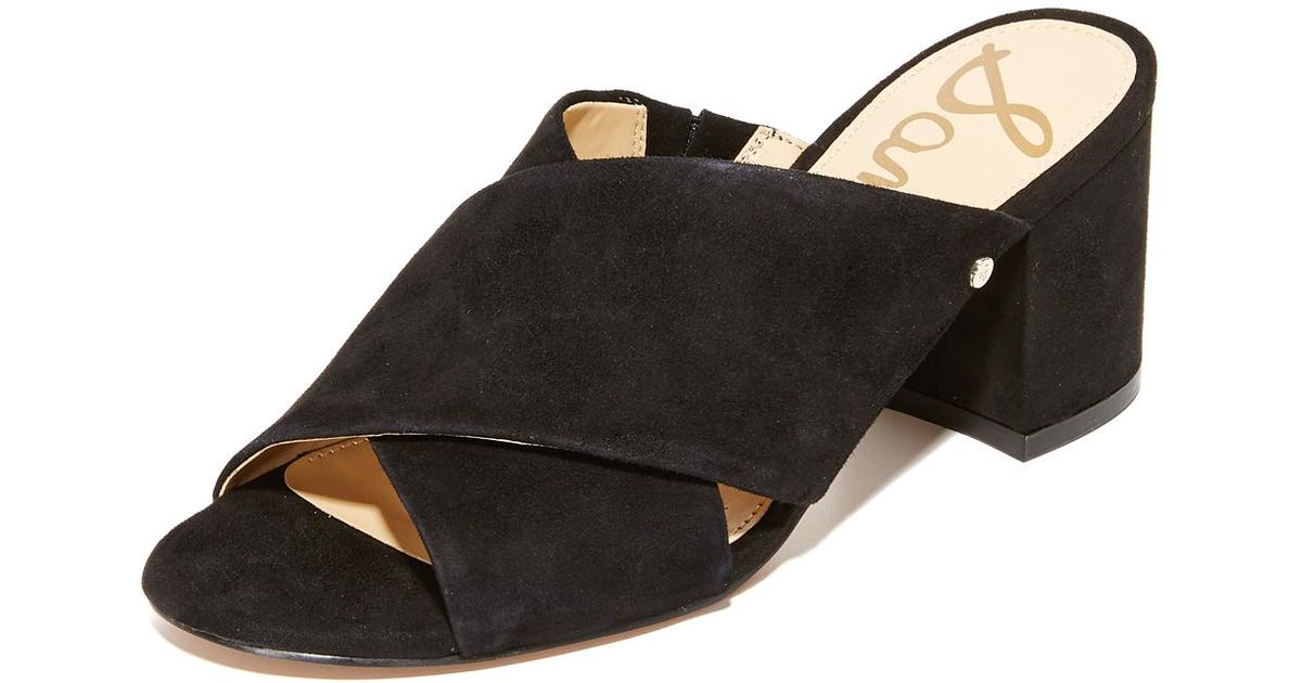 4e3ec669ad70 Lyst - Sam Edelman Stanley Block Heel Mules in Black