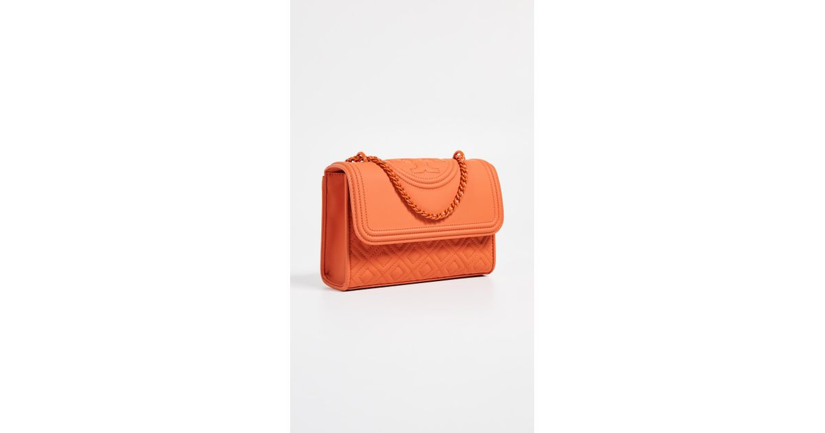 0a54a13a7f04 Lyst - Tory Burch Fleming Matte Small Convertible Shoulder Bag in Orange -  Save 6%