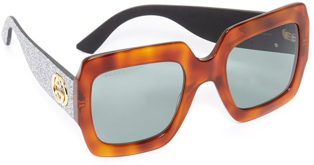 d9572c1eb55 Lyst - Gucci GG 0102s 004 Light Havana Square Sunglasses