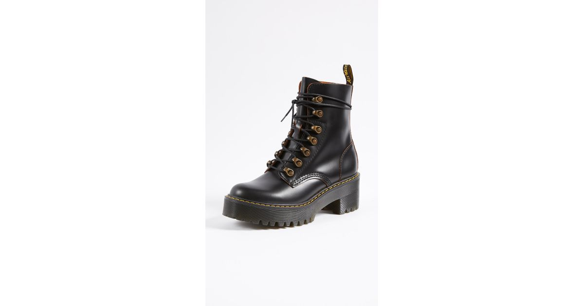 321aac465c Dr. Martens Leona 7 Hook Boots in Black - Lyst