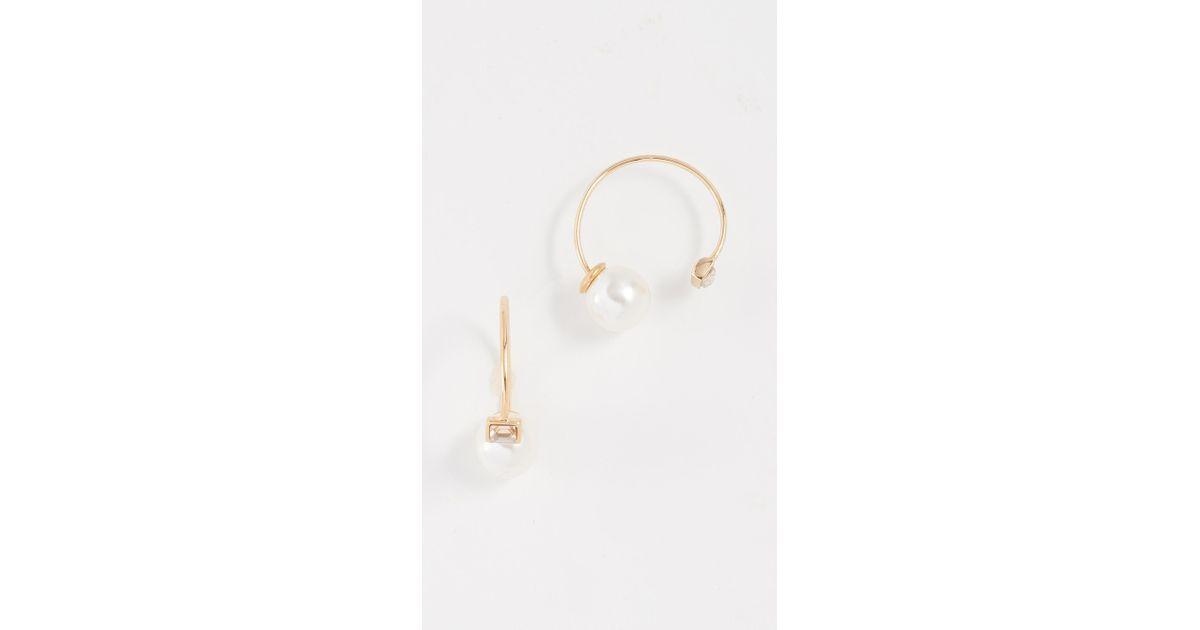 Lyst Rebecca Minkoff Baby Imitation Pearl Stone Threader Huggie Earrings In Metallic