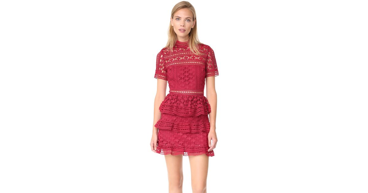 0d34adddf1187f Lyst - Self-Portrait High Neck Star Lace Paneled Dress in Red