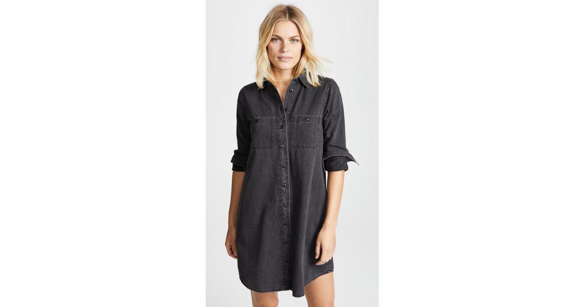 8884f2b8ffe Lyst - Madewell Black Denim Shirtdress in Black