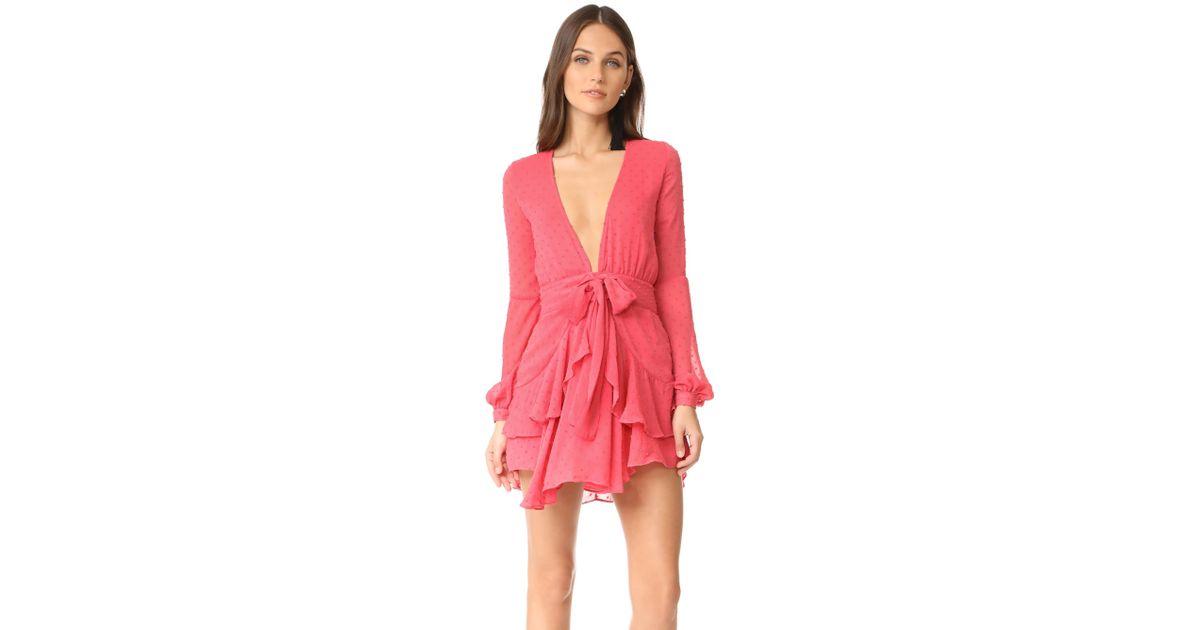 2601c35cc98c For Love & Lemons Tarta Long Sleeve Mini Dress in Pink - Lyst