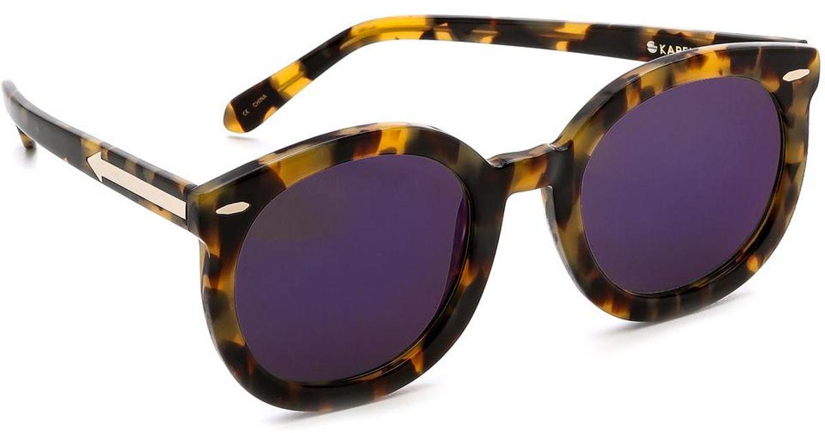 478980fd876 Lyst - Karen Walker Superstars Collection Super Duper Strength Mirrored  Sunglasses in Brown