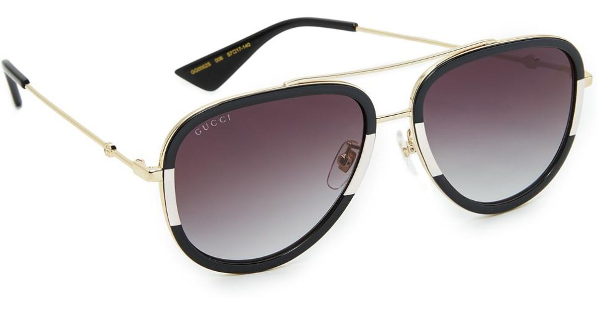 207a0cfc493 Lyst - Gucci Pilot Urban Web Block Aviator Sunglasses