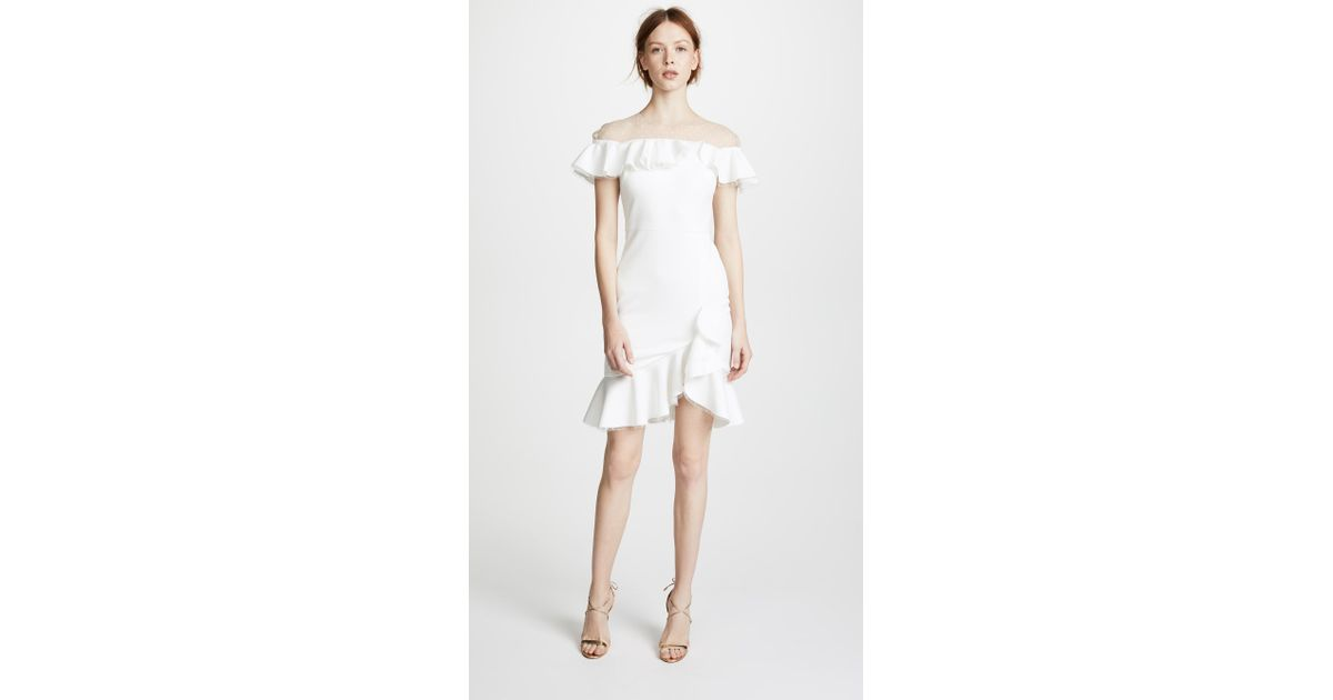8264babef27 Marchesa notte Neoprene Cocktail Dress With Point D esprit Yoke   Ruffles  in White - Lyst
