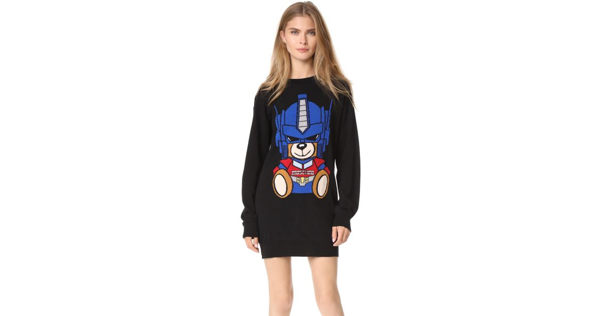 be95922e6d5 Moschino Transformers Bear Sweater Dress in Black - Lyst