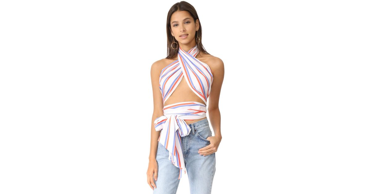 2acfc79eb35b Lyst - MDS Stripes Everything Scarf Top in Blue