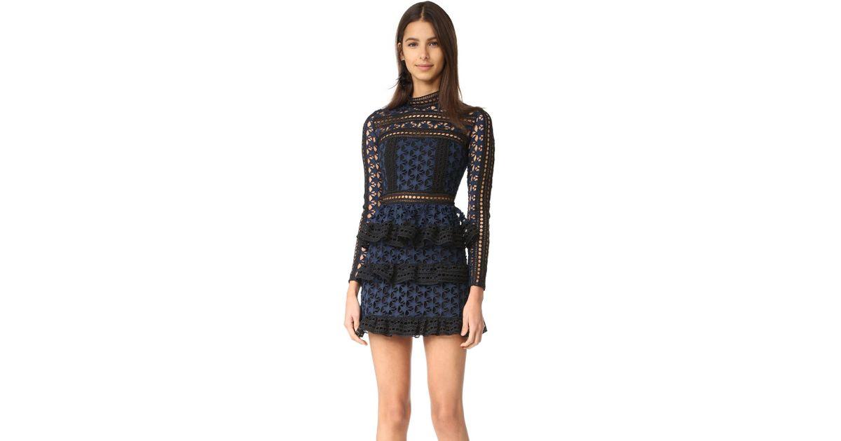 17c83de2a5b908 Self-Portrait High Neck Star Lace Dress in Blue - Lyst