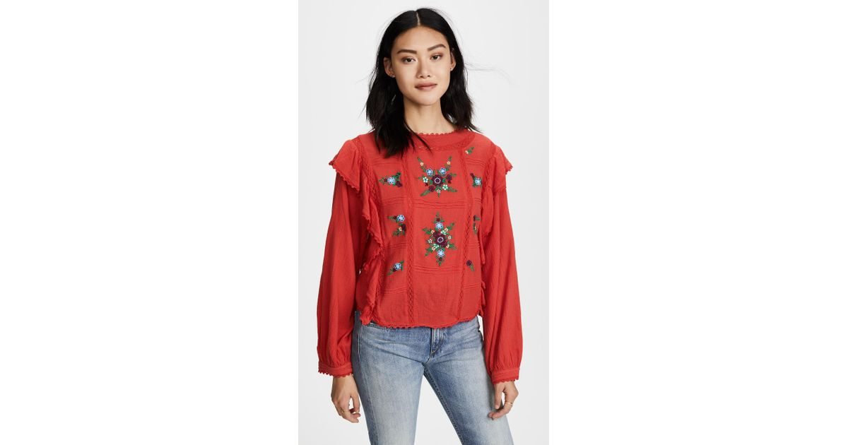 cd905b18df331b Free People The Amy Top in Red - Lyst