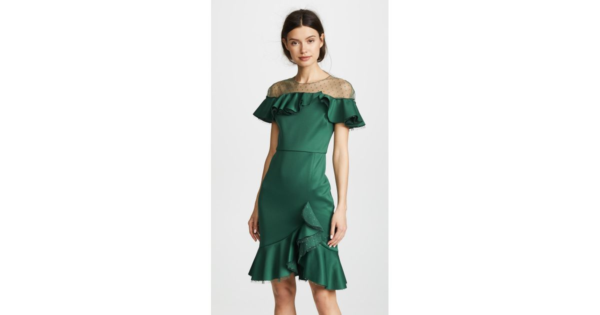 dc8b136e30736 Marchesa notte Neoprene Cocktail Dress With Poin D'esprit Yoke & Ruffles in  Green - Lyst
