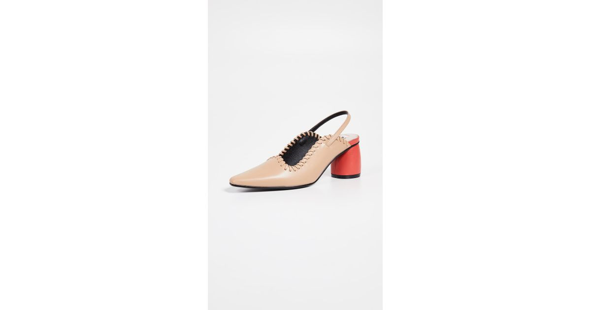 218186c0be5 Lyst - Reike Nen Curved Middle Slingback Pumps in Natural
