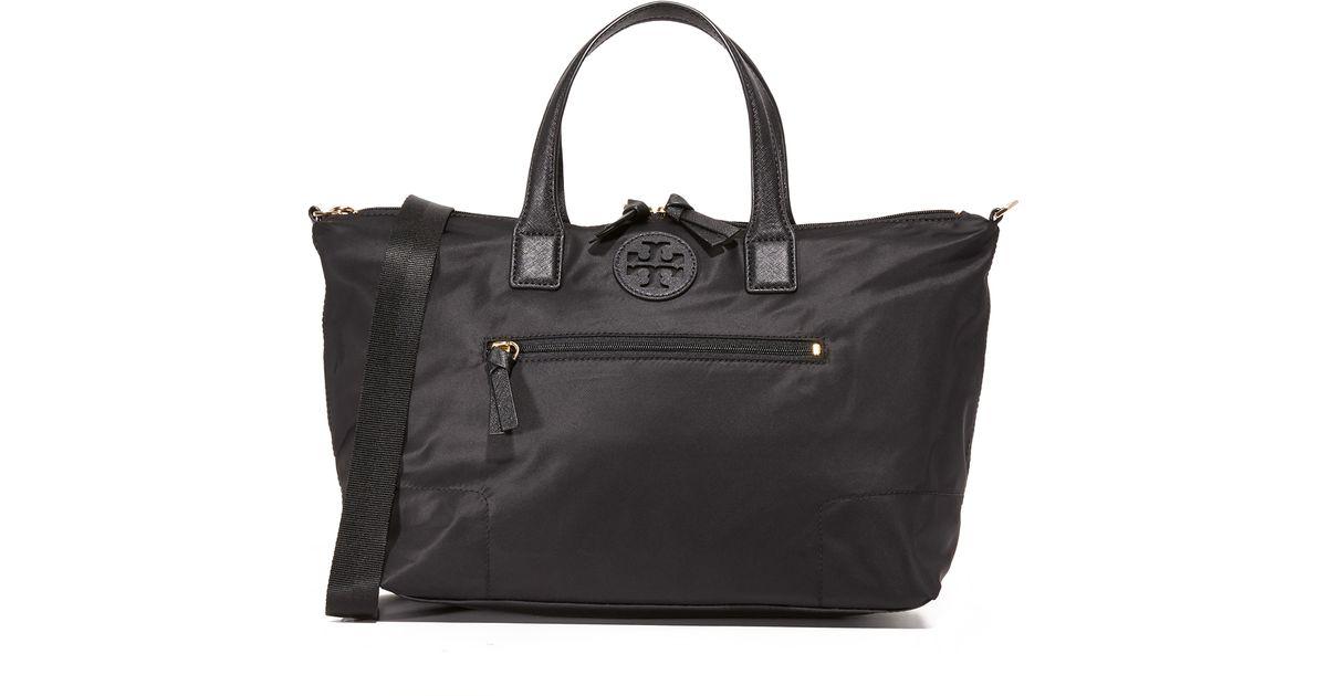 ebd2045ef9cc3 Lyst - Tory Burch Ella Packable Satchel in Black