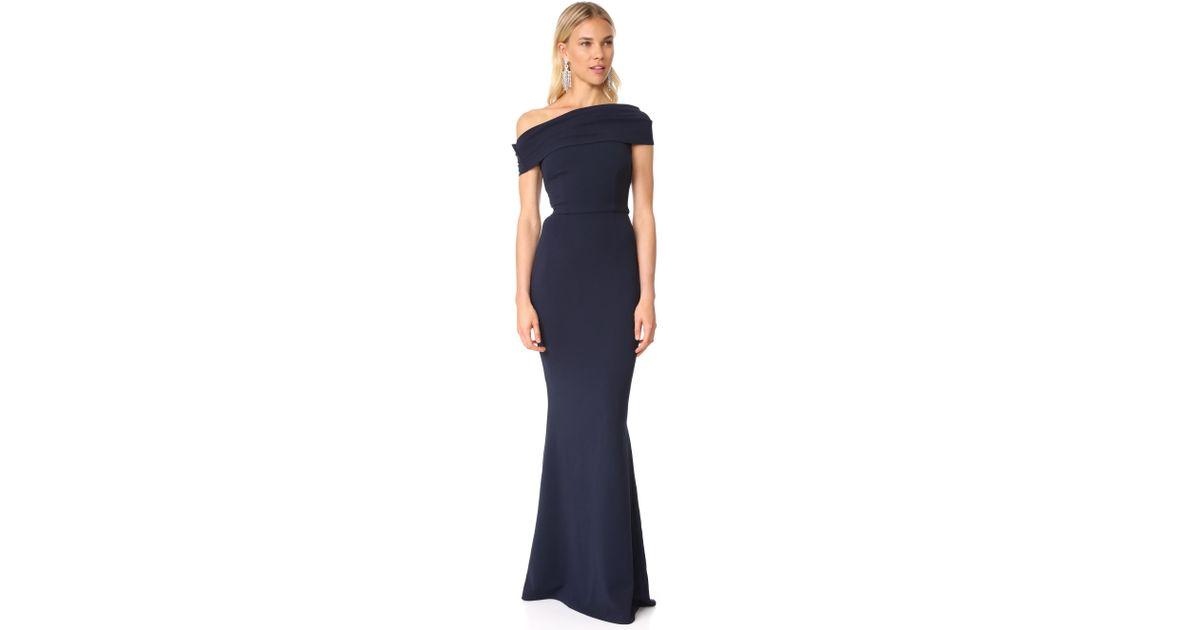 3fe560f82f100 Katie May Layla Asymmetrical Off The Shoulder Dress in Blue - Lyst