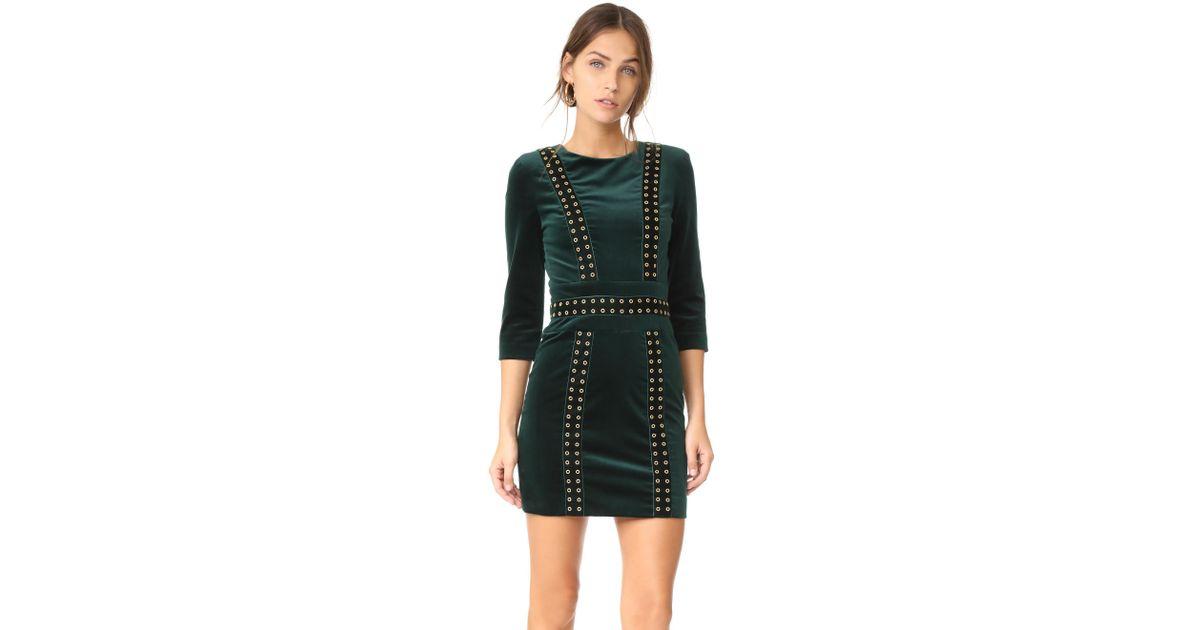 48fc2125 Balmain Velvet Mini Dress in Green - Lyst
