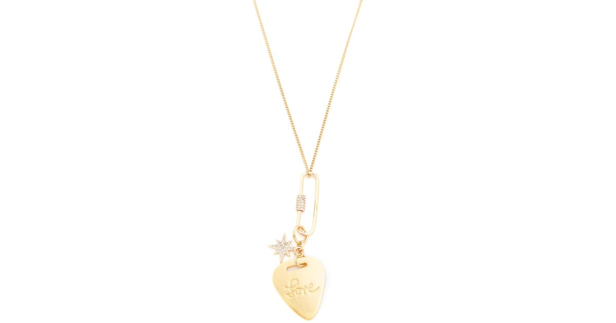 Lyst rebecca minkoff love guitar pick pendant necklace in metallic mozeypictures Choice Image