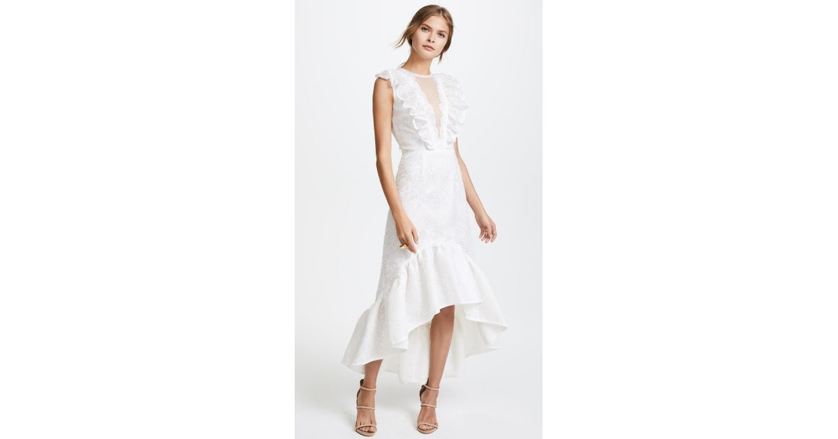 Lyst - Costarellos Plunging Neckline A-line Dress in White