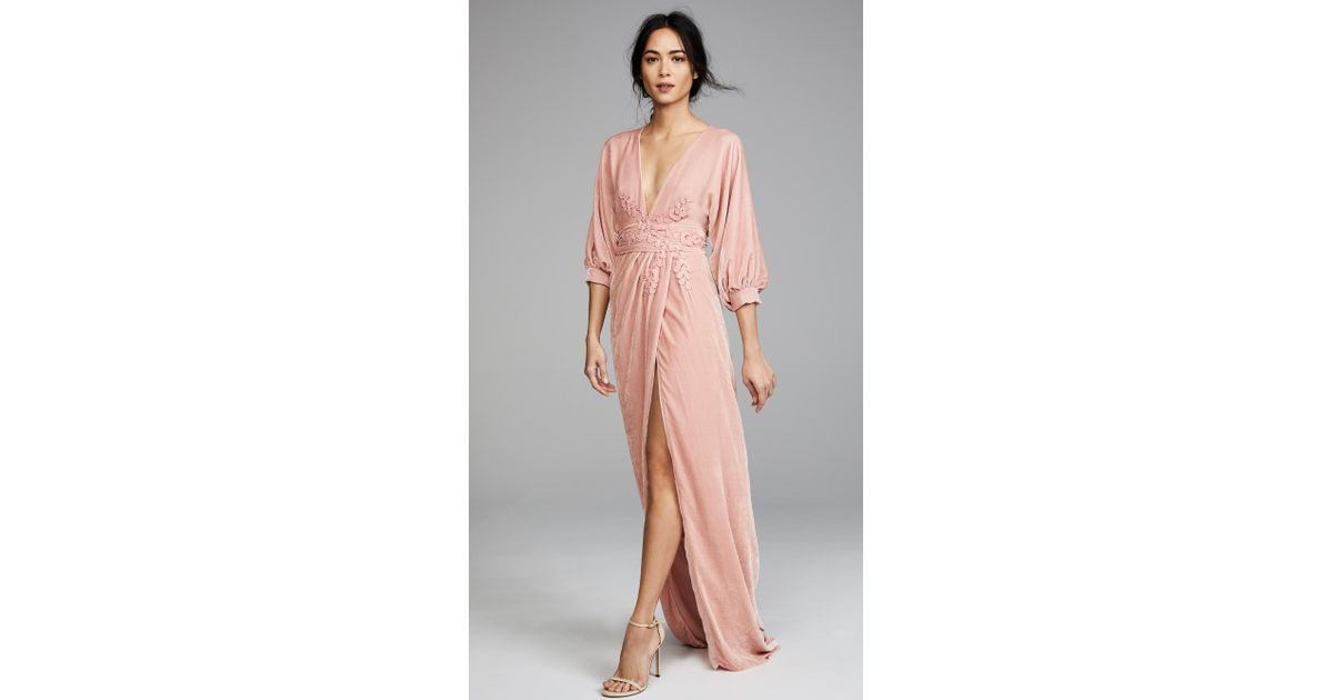 Lyst - Costarellos Plunging Neckline Long Dress in Pink