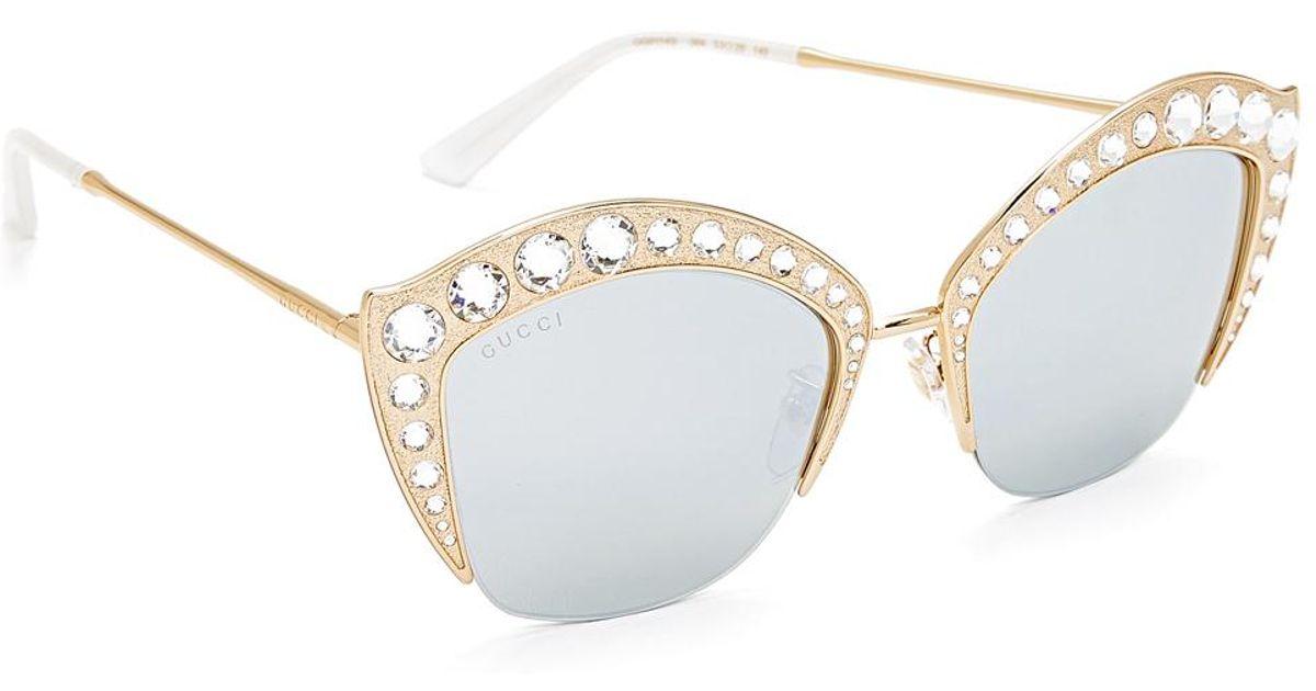 86ae67a6379 Lyst - Gucci Swarovski Crystal Cat Eye Sunglasses in Metallic