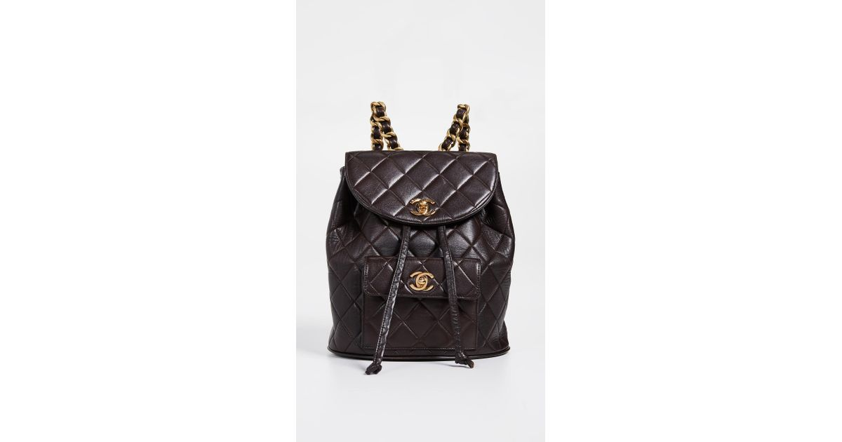 68b0b4b5acd6 What Goes Around Comes Around Chanel Classic Backpack in Brown - Lyst