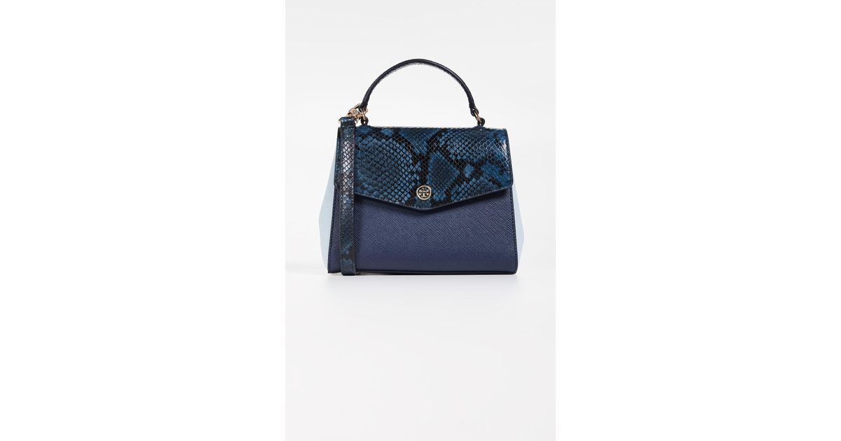 cf2e1751335a Tory Burch Robinson Mixed Material Top Handle Satchel in Blue - Lyst