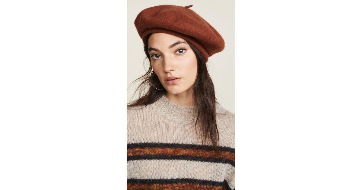 Lyst - Brixton Audrey Beret Hat in Brown 86990d3e5691