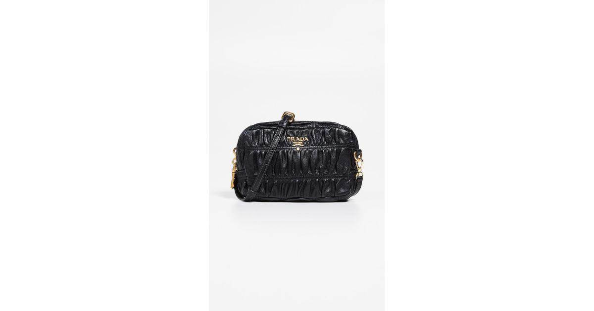 ec7b36fa4348 Lyst - What Goes Around Comes Around Prada Black Nappa Gaufre Mini Bag in  Black