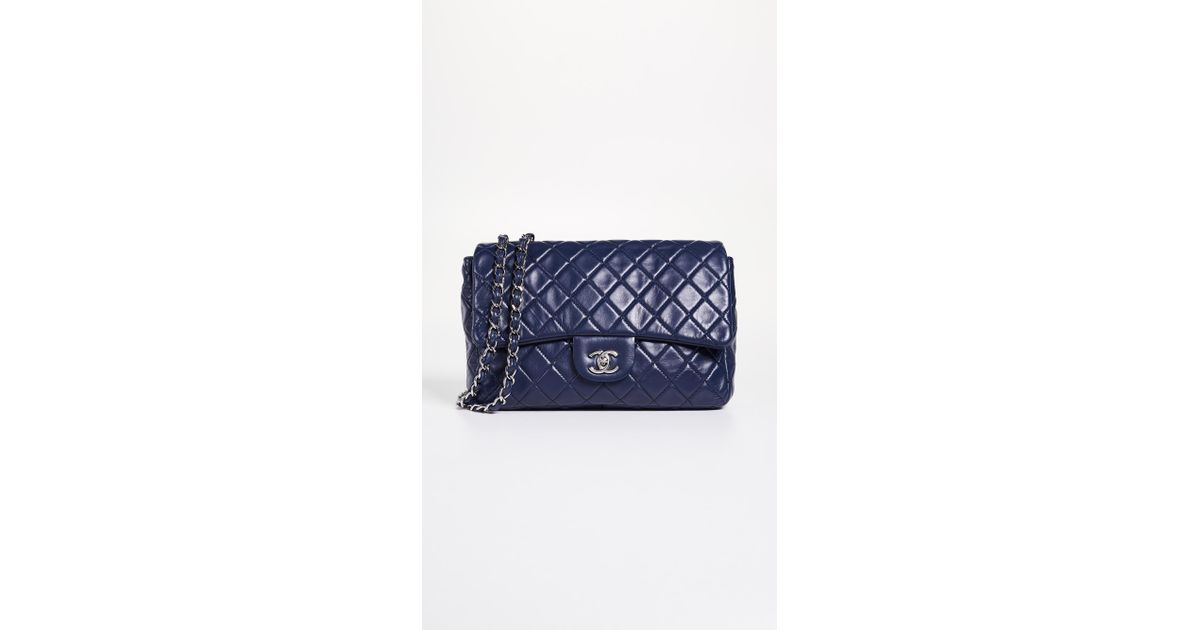98a7e707442b33 What Goes Around Comes Around Chanel Blue Lamb New Classic Jumbo Bag in Blue  - Lyst