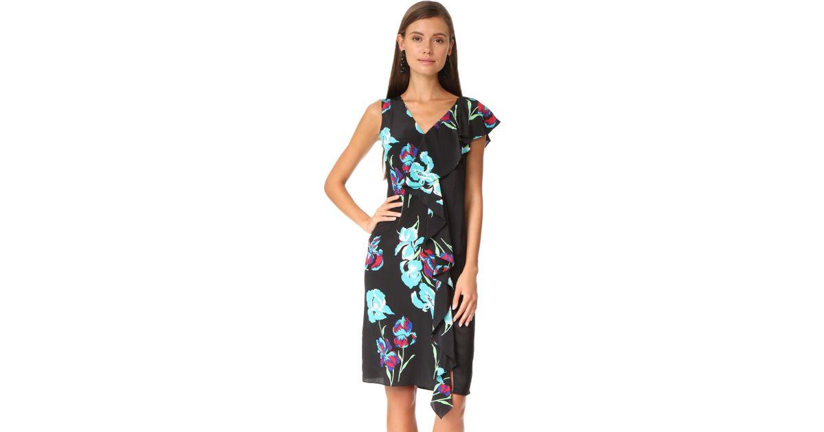 Lyst Diane Von Furstenberg Sleeveless Side Ruffle Dress In Black