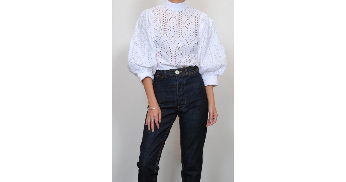dc9d3aac0bf5d4 Lyst - Ganni Broderie Anglaise Blouse In Bright White