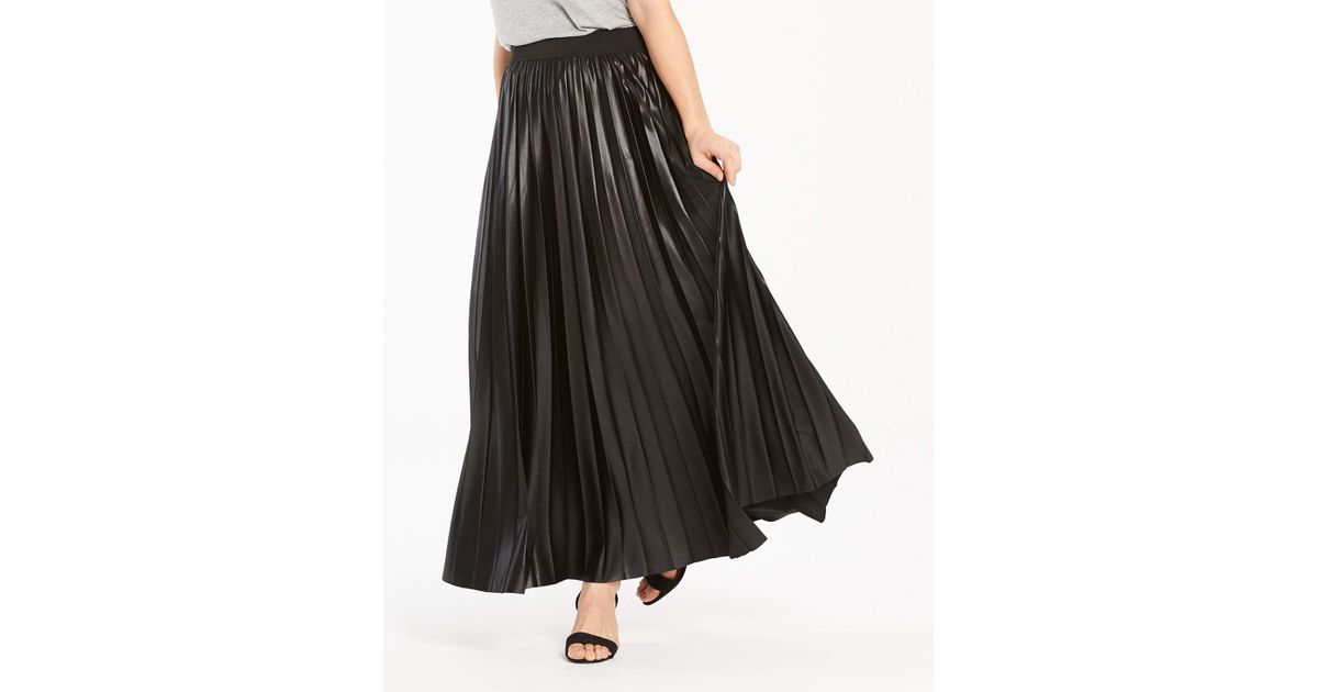 35ac6813c1e Simply Be Wet Look Sunray Pleat Maxi Skirt in Black - Lyst